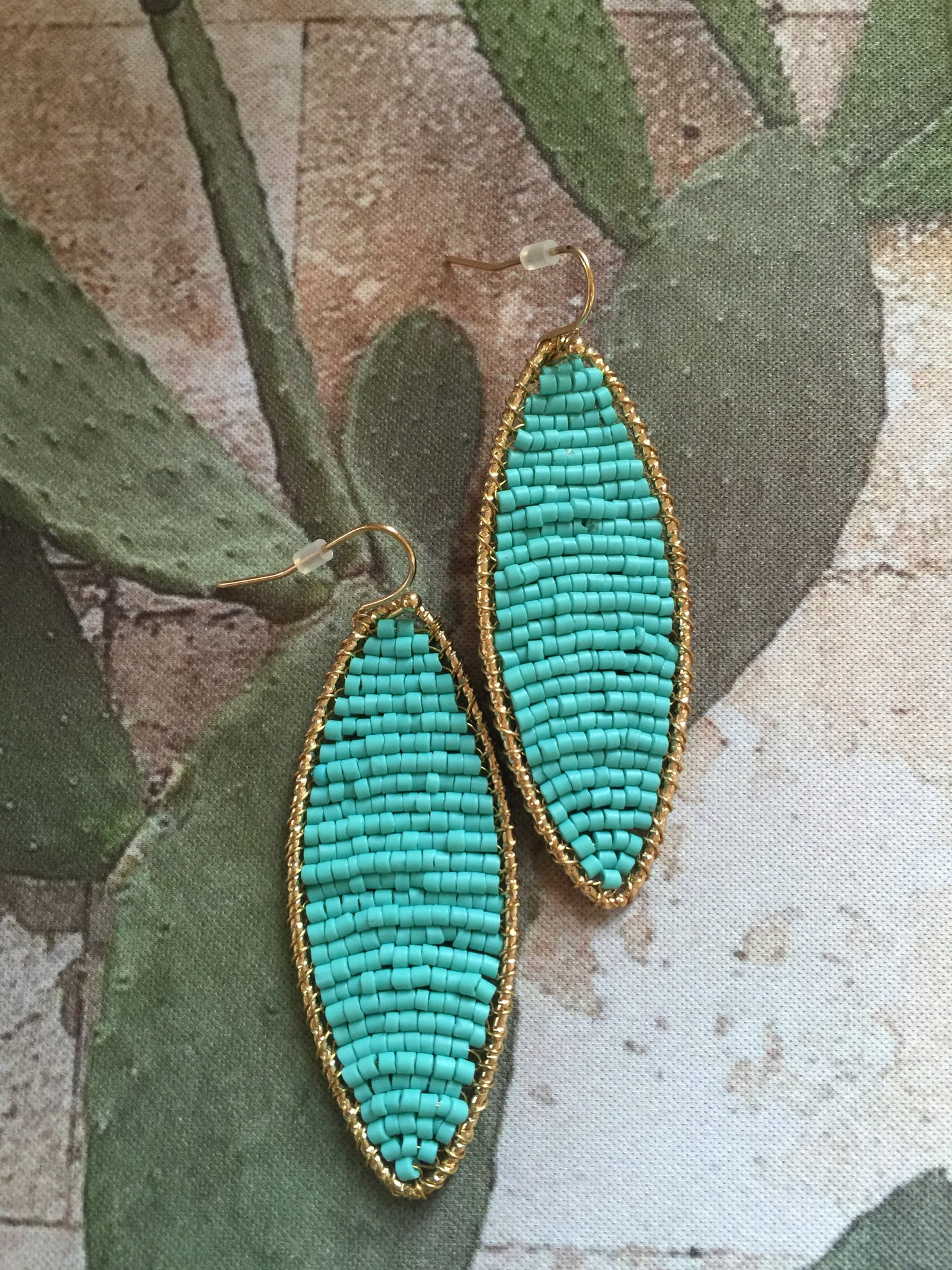 Fair Trade Turquoise Beads and Gold Earrings - cactus + olives