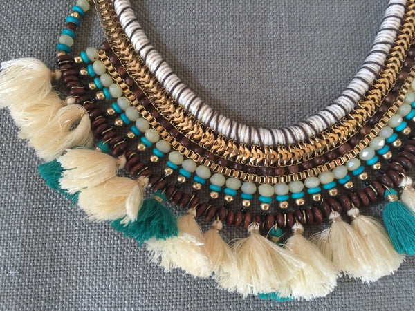 Tribal necklace with fringe