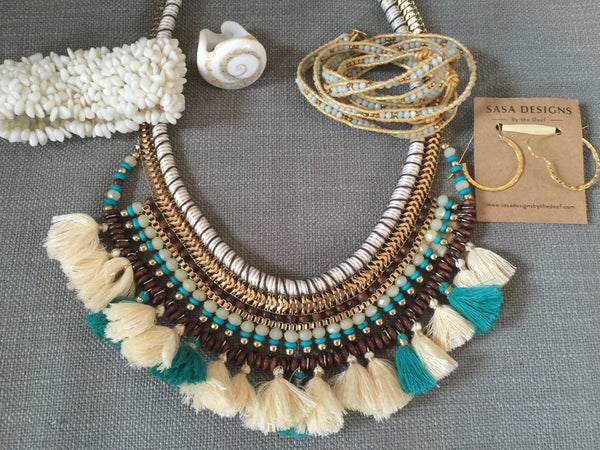 African or Mayan necklace jewelry for resort or vacation