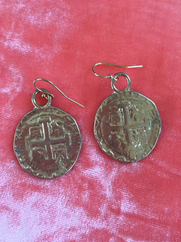 Spanish Coin Earrings Gold Bronze - cactus + olives