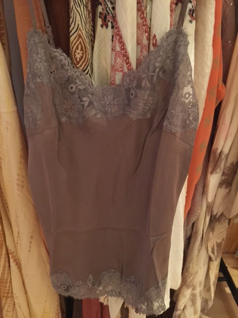 Goldhawk Silk Marilyn Camisole - Warm Grey - cactus + olives