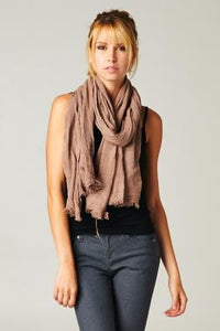 Gossamer Cotton Scarf or Wrap - cactus + olives