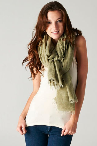 Light open weave scarf olive green