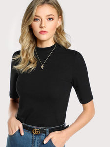 Ribbed Mock Neck Top - cactus + olives