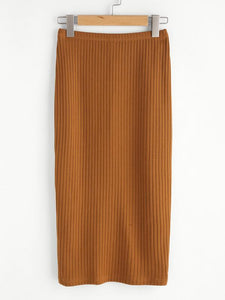 Ribbed Stretch Pencil Skirt - 2 colors - cactus + olives