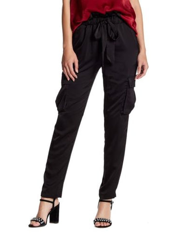 Harlow Satin Cargo Pants - cactus + olives