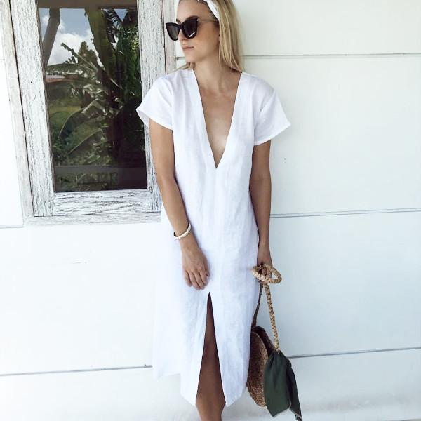 Elegant and chic linen dress