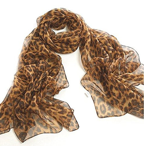 Chiffon Leopard Scarf - cactus + olives