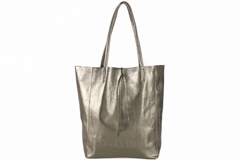 The Città Large Leather Tote - Gunmetal Metallic - cactus + olives
