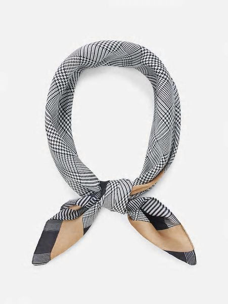 Houndstooth print silk scarf
