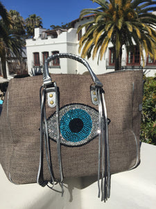Evil Eye Tote Bag - Taupe - cactus + olives