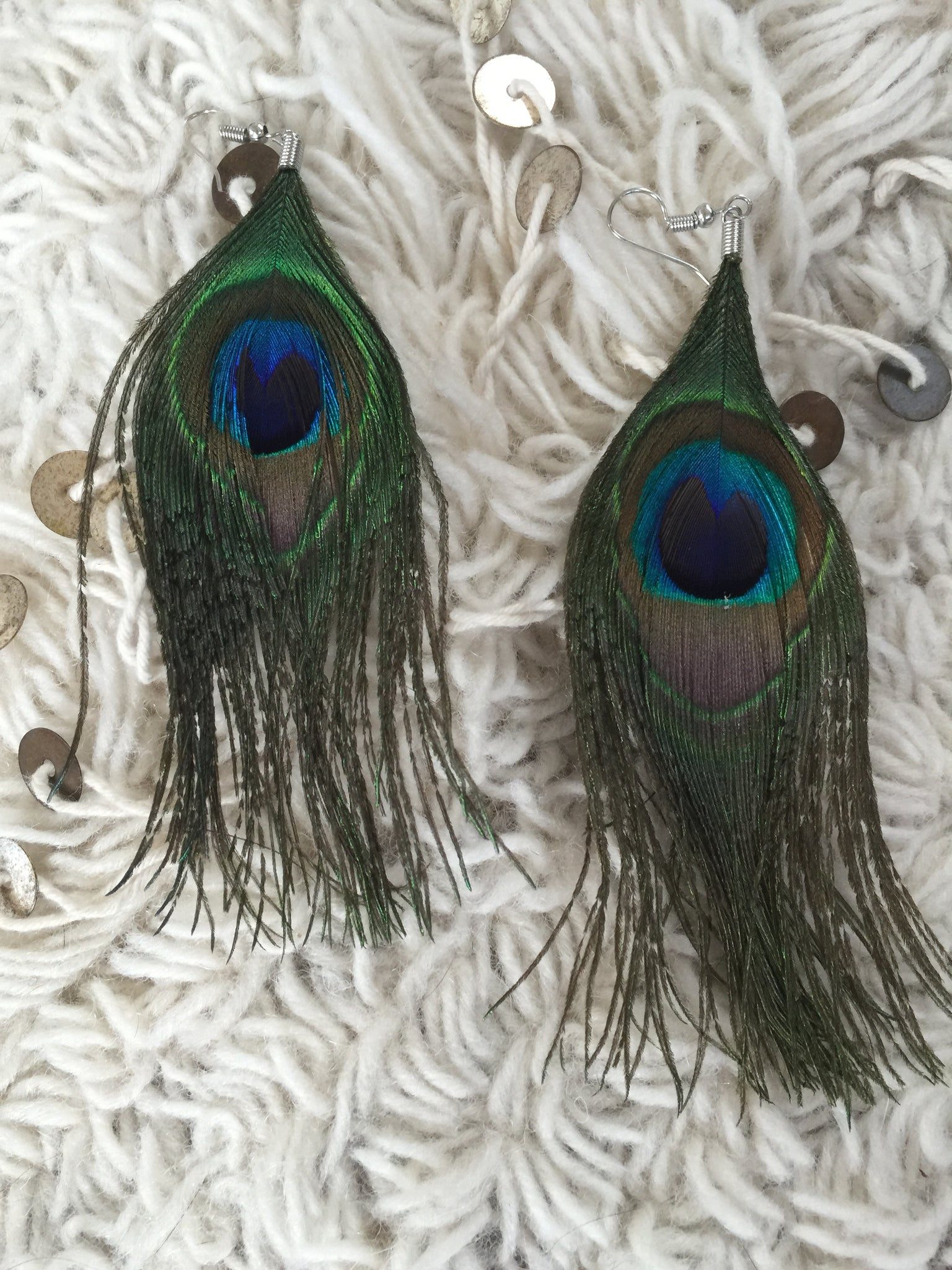 Fair Trade Women Made Peacock Feather Earrings - cactus + olives