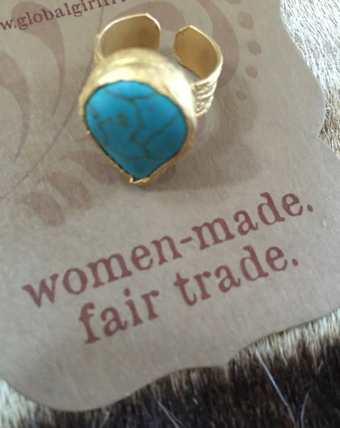 Fair Trade Brass and Turquoise Ring - cactus + olives
