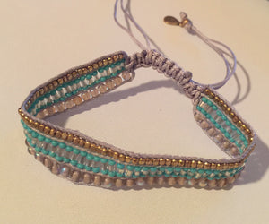 Beaded Cinch Bracelet Turquoise Fair Trade - cactus + olives