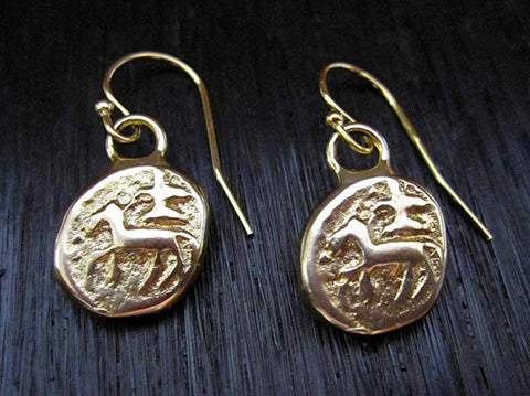Ancient India Shiva Coin Earrings - cactus + olives
