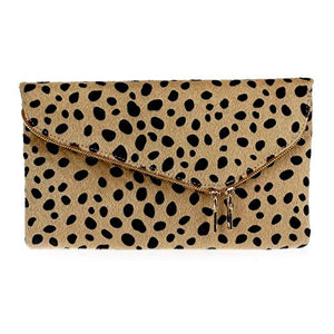 Cheetah Fold Over Clutch Shoulder Bag - cactus + olives