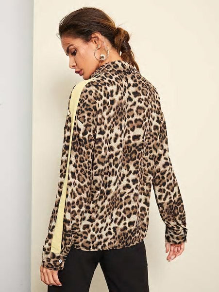 Tame Me Leopard Blouse - cactus + olives