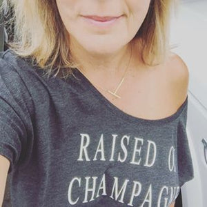 Raised on Champagne Slouchy T Shirt - cactus + olives