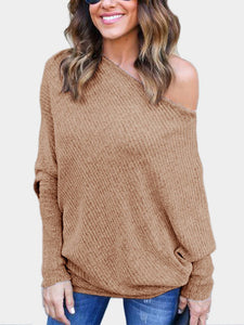 "The ""Cozy Up"" Off the Shoulder Lightweight Ribbed Knit Long Top"