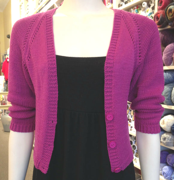 Women's - Cardigan in Cropped Style with Eyelet Raglan Sleeves (Pattern Downloads)