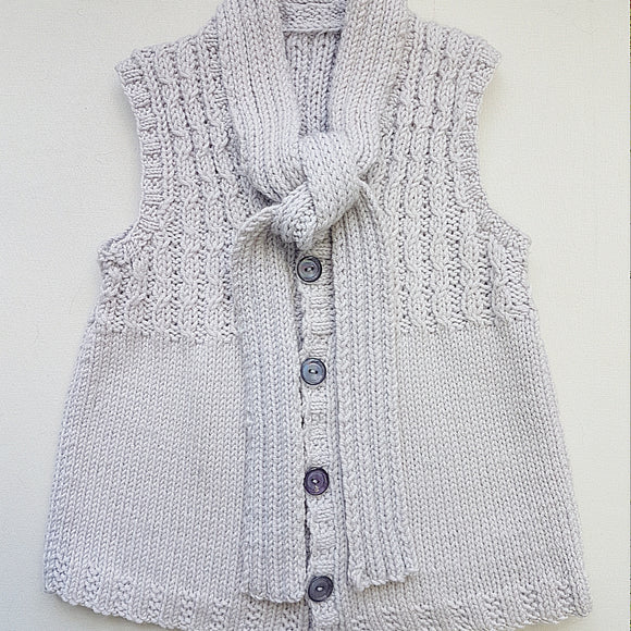 Children - Vest in Wavy Cable with Scarf (Pattern Downloads)