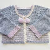 Children - Raglan Garter Stitch Cardi with Pom Poms (Pattern Downloads)