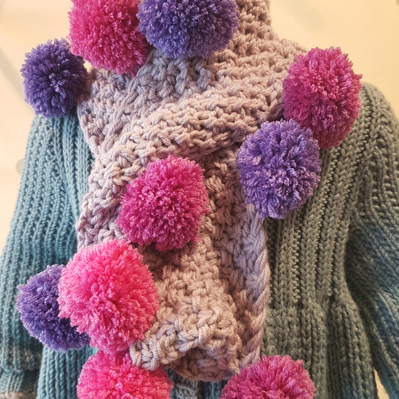 Scarf - Children - Cowl with Pom Poms (Pattern Downloads)