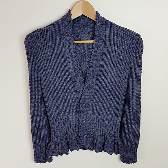 Women's - Cardigan with Frilled Hem and Twisted Rib (Pattern Downloads)