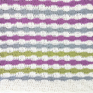 Blanket in Crocheted Bubble Stripe (Pattern Downloads)