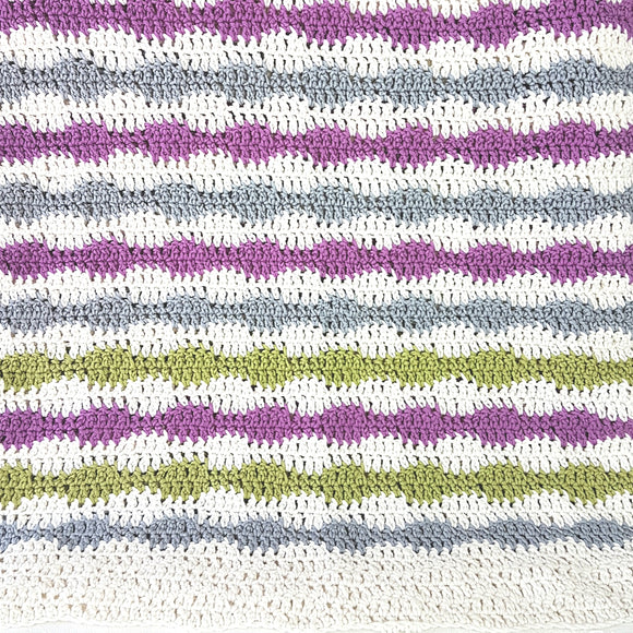 Blanket - Crocheted Bubble Stripe (Pattern Downloads)