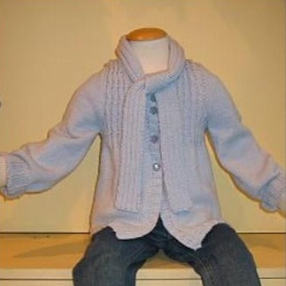 Children - Jacket in Wavy Cable with Scarf (Pattern Downloads)