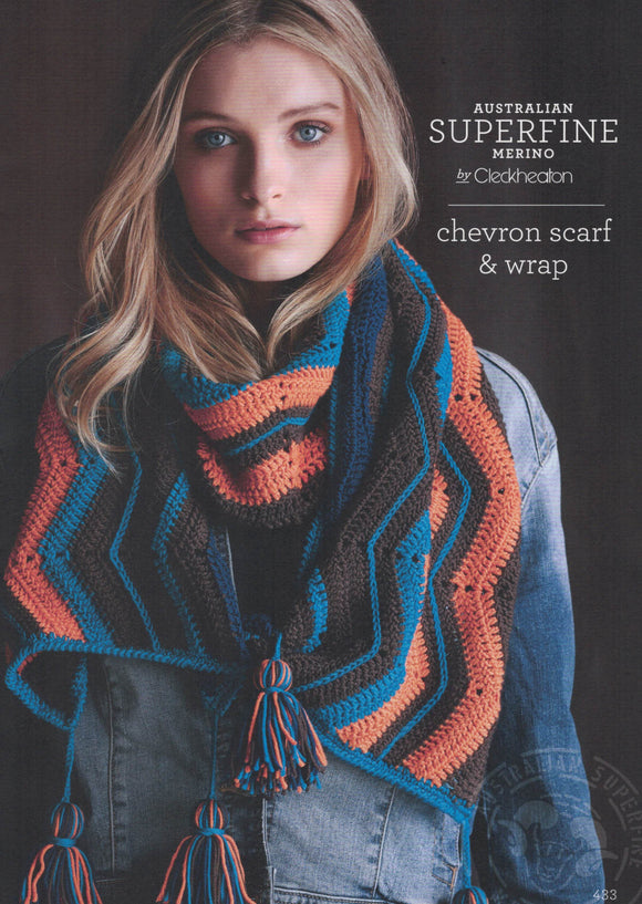 Cleckheaton Leaflet 433 - Crochet Chevron Scarf & Wrap (Accessories)