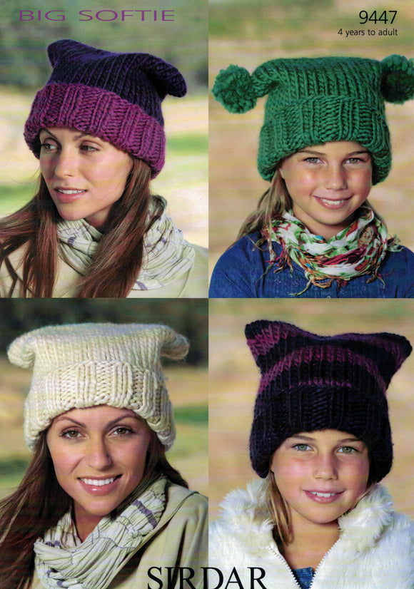 Accessories - Sirdar Big Softie Leaflet 9447 Hats