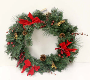 24IN Pine Cone + Berry + Bow Wreath  (X18524-GNRD)