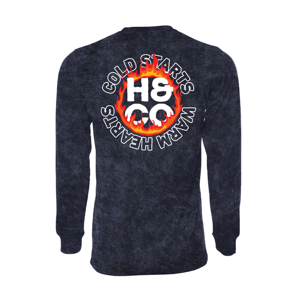Cold Starts Warm Hearts Longsleeve - Navy Mineral Wash