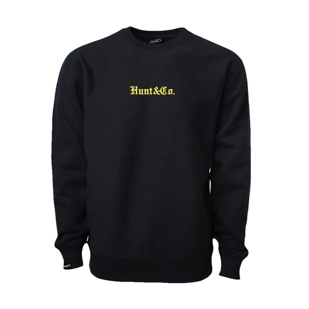 Old English H&C Embroidered Crewneck - Black