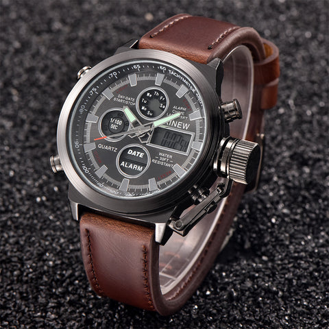 Luxury Mens Quartz Sport Military Army LED Water Resistant Watch