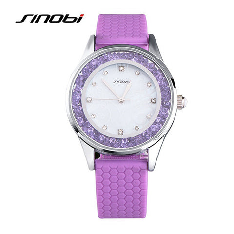 Diamonds Wrist Watch Silicone Watchband