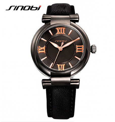 Gold Leather Strap Wristwatch