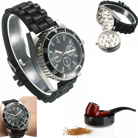Metal Alloy Cigarette Grinder Herb Spice Tobacco Grinder Watch