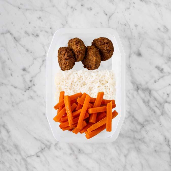 100g Baked Falafel 250g Basmati Rice 150g Honey Baked Carrots