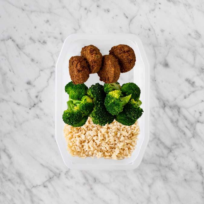 100g Baked Falafel 250g Broccoli 250g Brown Rice