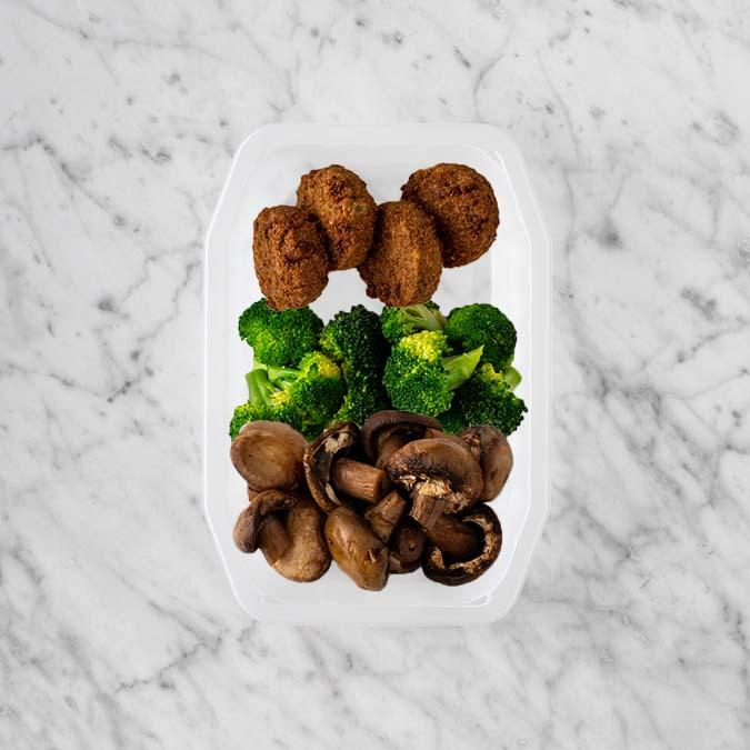 100g Baked Falafel 250g Broccoli 250g Mushrooms