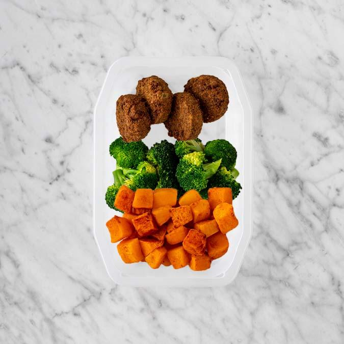 100g Baked Falafel 250g Broccoli 100g Rosemary Baked Sweet Potato