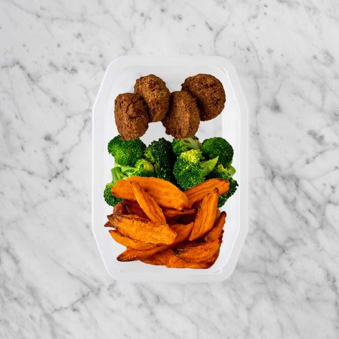 100g Baked Falafel 250g Broccoli 200g Sweet Potato Fries