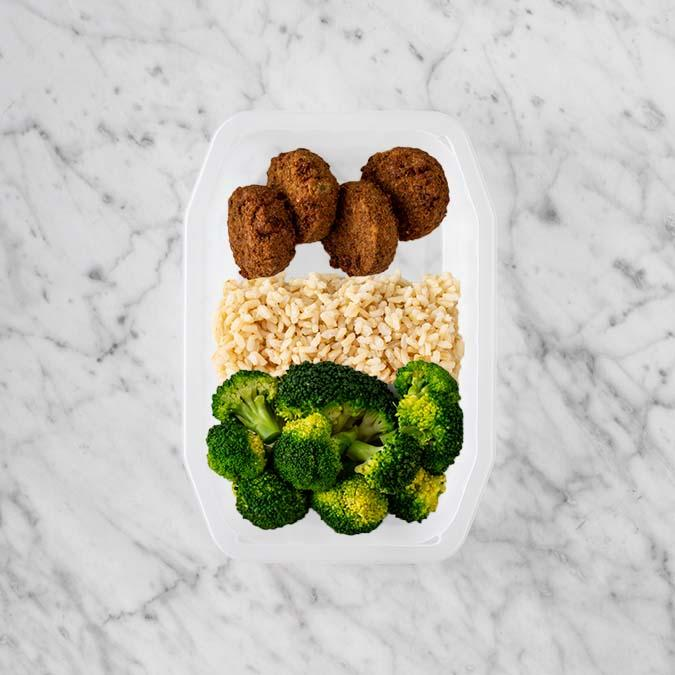 100g Baked Falafel 250g Brown Rice 200g Broccoli
