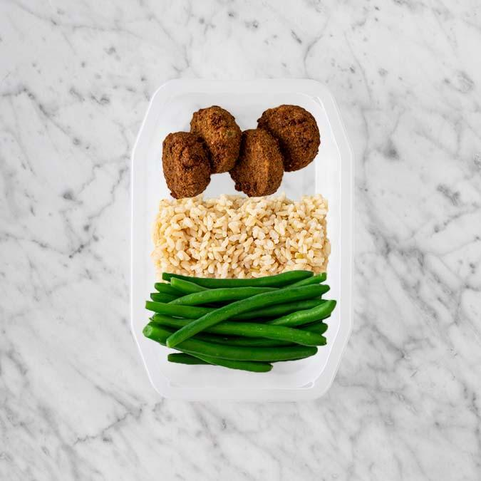 100g Baked Falafel 250g Brown Rice 200g Green Beans