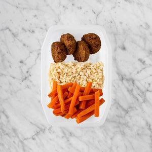 100g Baked Falafel 250g Brown Rice 200g Honey Baked Carrots