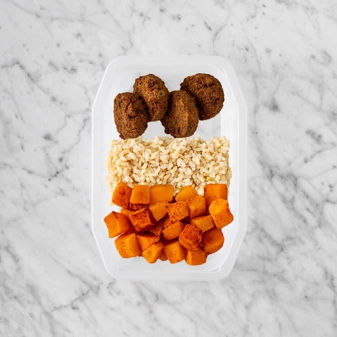 100g Baked Falafel 250g Brown Rice 250g Rosemary Baked Sweet Potato