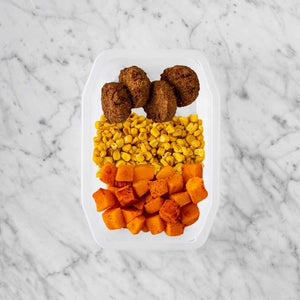100g Baked Falafel 250g Corn 100g Rosemary Baked Sweet Potato